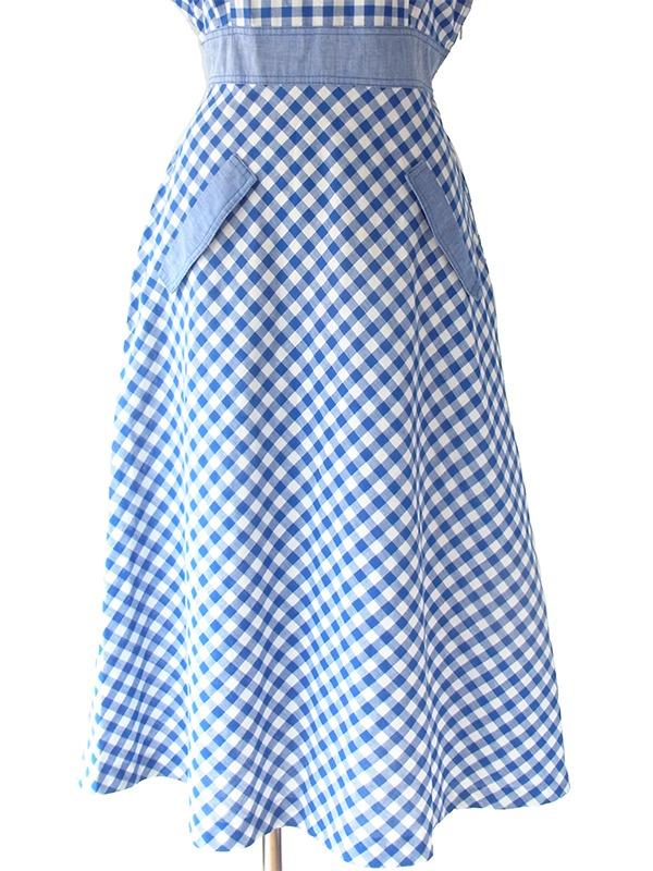 ヨーロッパ古着 ロンドン買い付け 60年代製 ブルー X ホワイト ブロックチェック ヴィンテージ ワンピース 17OM611