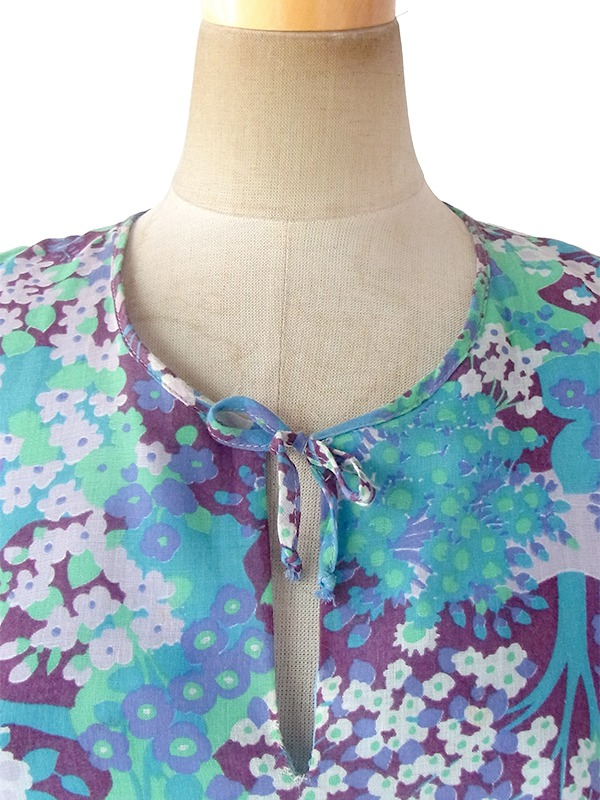 ヨーロッパ古着 ロンドン買い付け 60年代製 パープル X 水色 花柄 パフスリーブ フレア ワンピース 17OM637