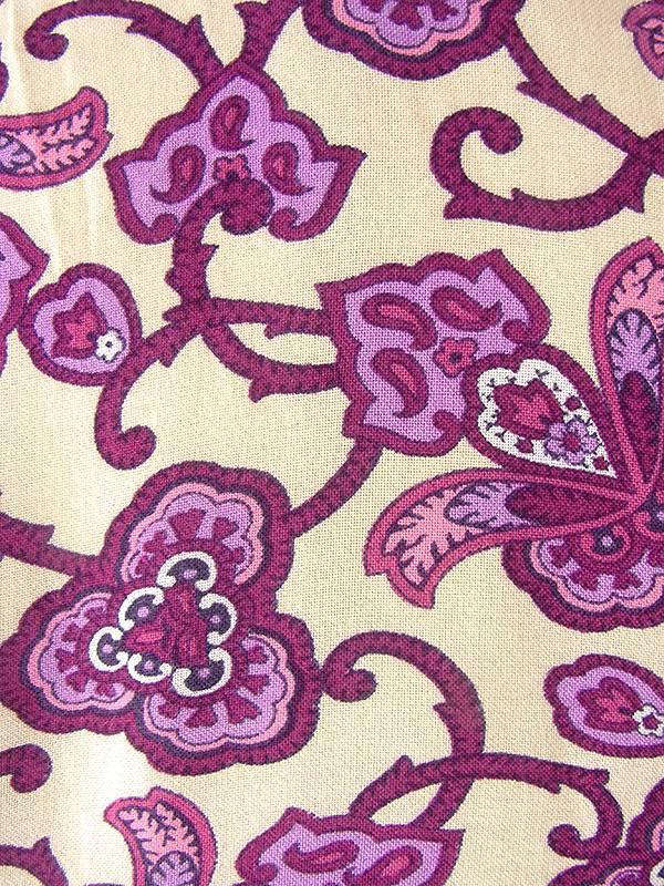 ヨーロッパ古着 ロンドン買い付け 60年代製 クリーム色 X パープル・バーガンディー お花モチーフのレトロ柄 ワンピース 17OM638
