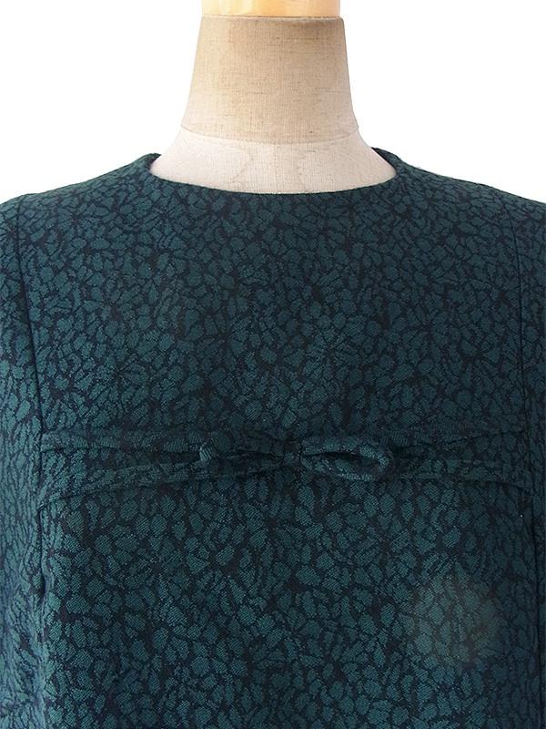 ヨーロッパ古着 ロンドン買い付け 60年代製 グリーン X 花模様のモザイク柄 ヴィンテージ ウール ワンピース 17OM643