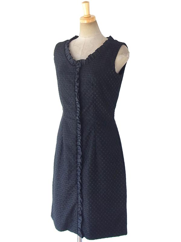 ヨーロッパ古着 ロンドン買い付け 70年代製 ブラック X 格子柄のパイピングが織り込まれた生地 ひだ飾り ヴィンテージ ドレス 17OM645