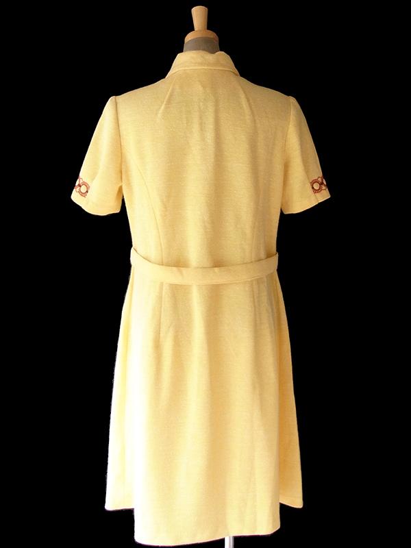 ヨーロッパ古着 ロンドン買い付け 60年代製 レモンイエロ- X ブラウン レトロ柄刺繍 ウール ワンピース 17OM701