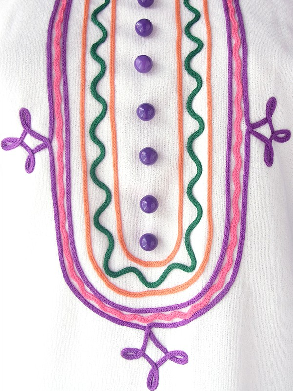 ロンドン買い付け 70年代製 ホワイト X カラフルなレトロ刺繍 ヴィンテージ ワンピース 17OM704