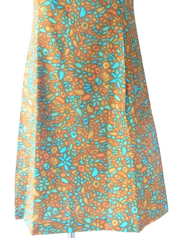 【送料無料】60年代フランス製 ブラウン・水色 レトロ柄 リボン付き デッドストック ワンピース 17OM602【未使用品】