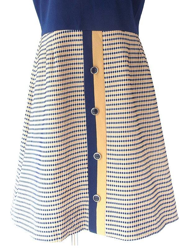 ヨーロッパ古着 ロンドン買い付け70年代アメリカ製 ブルー X ベージュ チェック柄切り返し レトロ ワンピース 17OM807