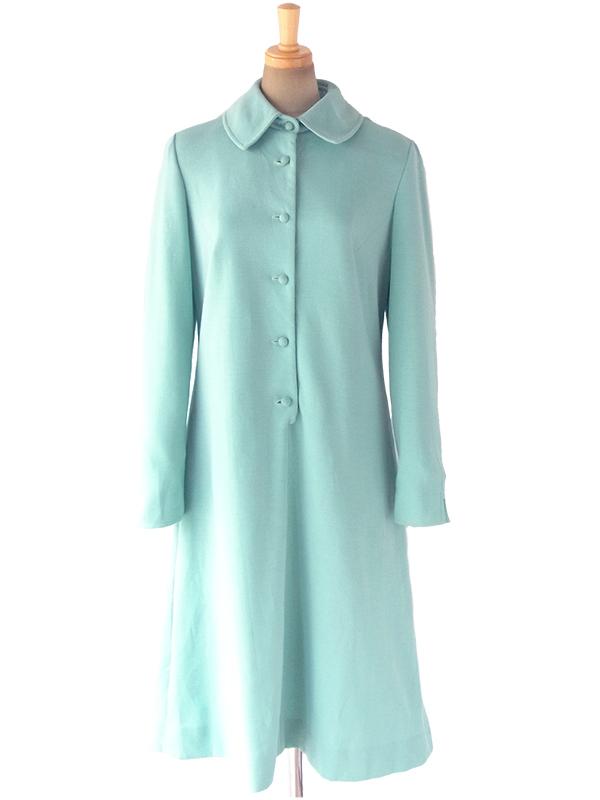 ヨーロッパ古着 ロンドン買い付け 60年代製 水色 X 可愛い形の襟 くるみボタン ヴィンテージ ワンピース 17OM816
