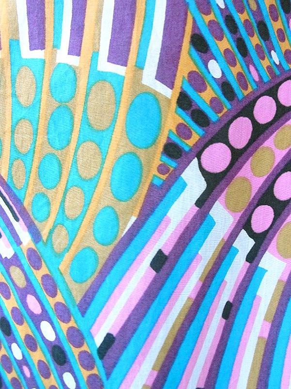 ヨーロッパ古着 ロンドン買い付け 60年代製 水色/パープル X レトロプリント 共布ベルト付き ワンピース 18BS003