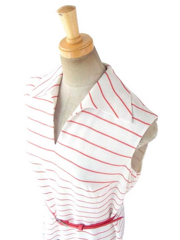 ヨーロッパ古着 ロンドン買い付け 60年代製 ホワイト X トリコロール ボーダー刺繍 ベルト付き ヴィンテージ ワンピース 18BS005
