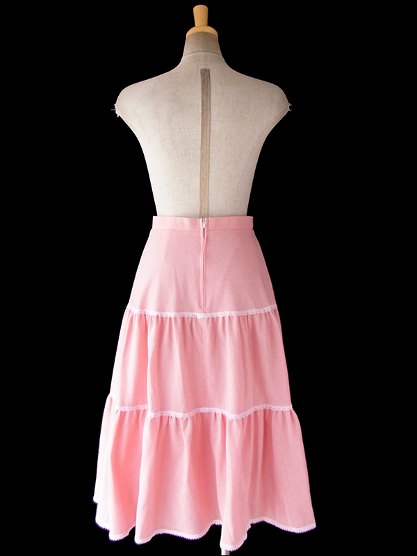 ヨーロッパ古着 ロンドン買い付け ペール ピンク X ピンチェック レーステープ ティアード スカート 18BS029
