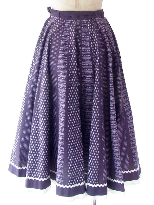 ヨーロッパ古着 ロンドン買い付け 60年代製 パープル X レトロ柄 山道テープ・レーステープ ヴィンテージ スカート 18BS030