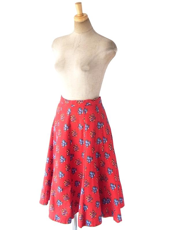 ヨーロッパ古着 ロンドン買い付け 60年代製 レッド X カラフル花柄 裾元ホワイト縁取り フレア スカート 18BS135