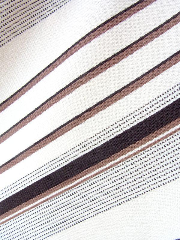 ヨーロッパ古着 ロンドン買い付け 70年代製 アイボリー X ブラウン・ブラック バイアス柄 共布ベルト付き ワンピース 18BS206