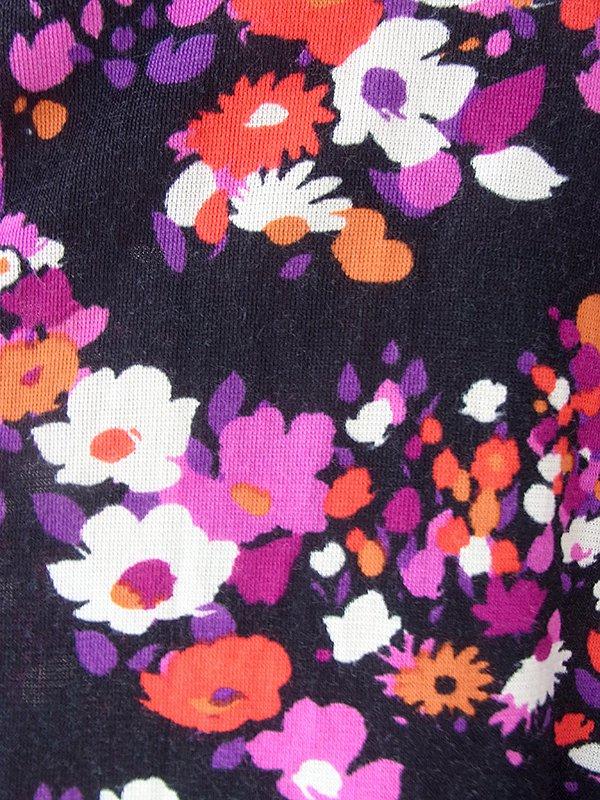 ヨーロッパ古着 ロンドン買い付け 60年代製 ブラック X カラフル花柄 カシュクールデザイン ロング ワンピース 18BS209