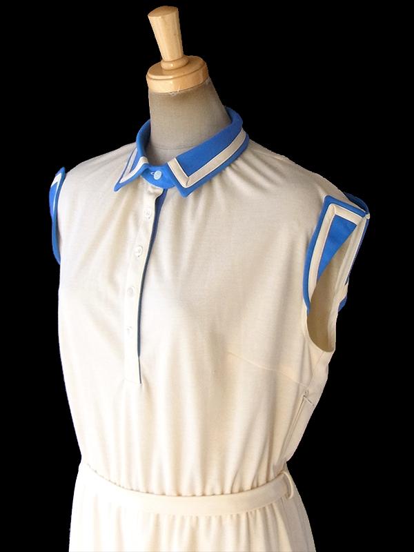 ヨーロッパ古着 ロンドン買い付け 70年代製 クリーム色 X ブルー 共布ベルト付き レトロ ワンピース 18BS214