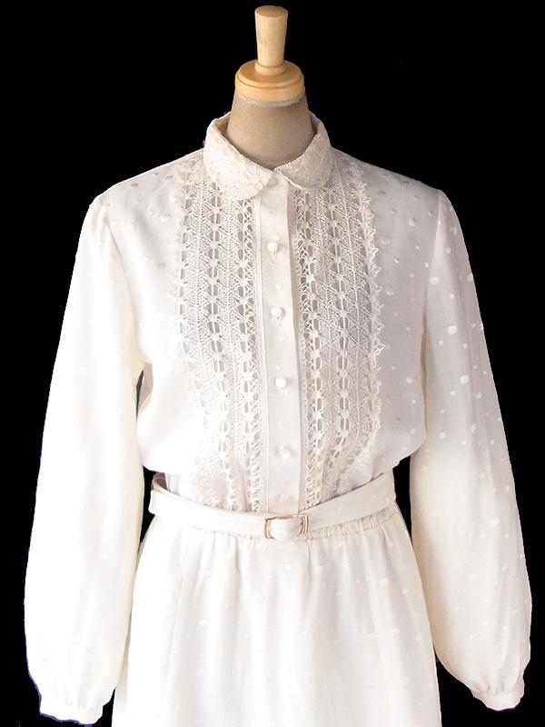 ヨーロッパ古着 ロンドン買い付け 60年代製 アイボリー X レース装飾・水玉刺繍 共布ベルト付き ヴィンテージ ワンピース 18BS313