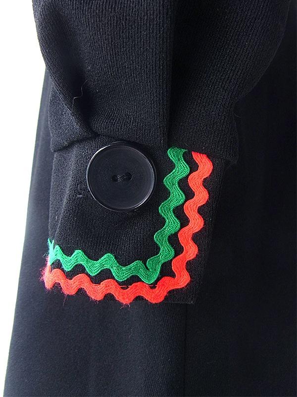 ヨーロッパ古着 ロンドン買い付け 70年代製 ブラック X レッド・グリーン 山道テープ 共布ベルト付き レトロ ワンピース 18BS311