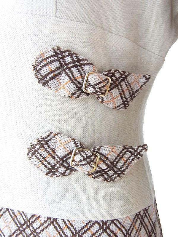 ヨーロッパ古着 60年代イタリア製 ベージュ X チェック柄 切り返し ベルト飾り ヴィンテージ ワンピース 18BS312