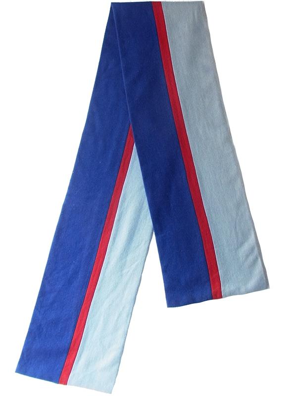 【ヨーロッパ古着】ロンドン買い付け ブルー レッド 水色 ストライプ ウール スクール マフラー 18BS321【おとなかわいい】