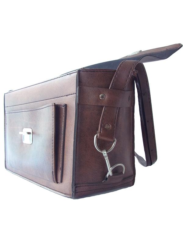 ロンドン買い付け ダークブラウン ボックス型 レザー バッグ 18BS328