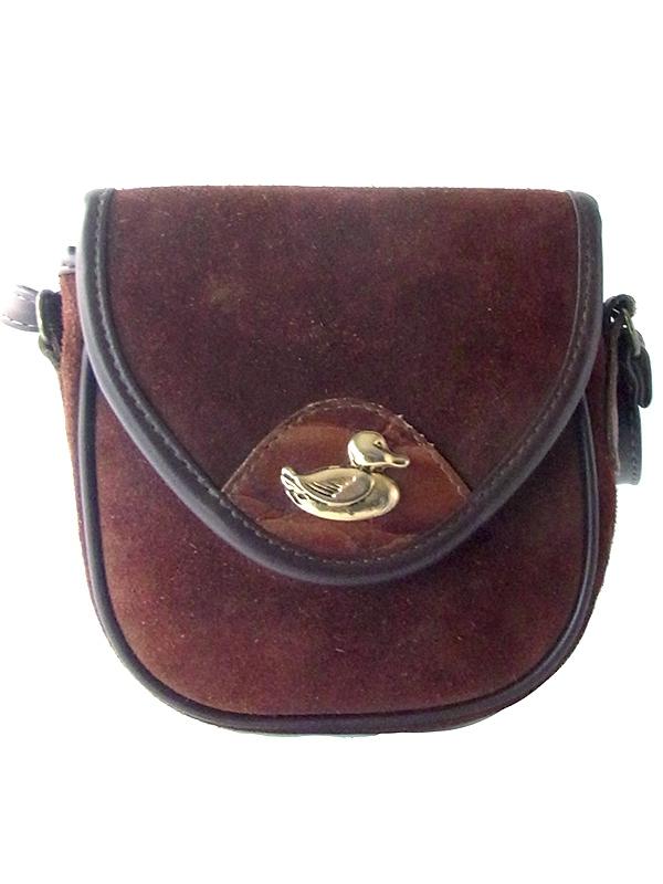 ロンドン買い付け 60年代製 ブラウン 表スエード X 裏レザー ゴールドの鴨の飾り ショルダー バッグ 18BS332