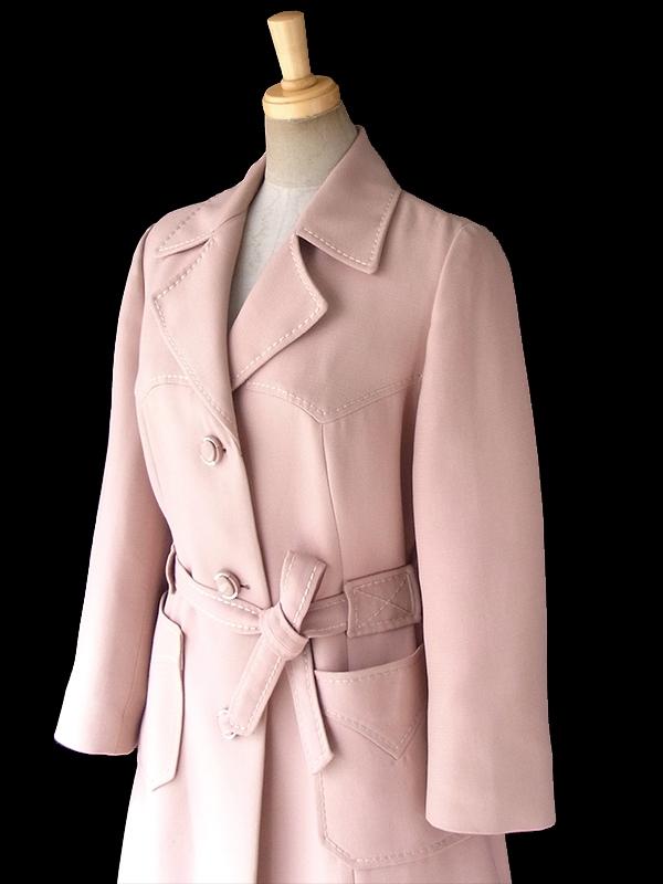 ヨーロッパ古着 フランス買い付け 70年代製 ペールピンク X ビッグステッチ 共布ベルト付き スプリング コート 18FC001