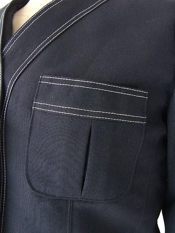 ヨーロッパ古着 70年代フランス製 Louis Feraud ブラック X ホワイトステッチ ジャケット・ワンピース セットアップ 18FC002