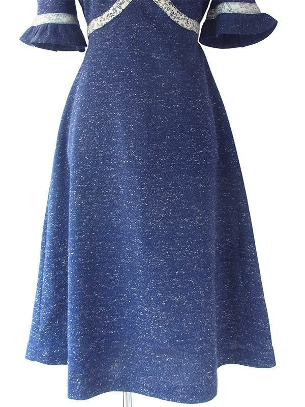 ヨーロッパ古着 フランス買い付け 70年代製 ネイビー X ホワイト 霜降 花柄リボン ギャザーデザイン ワンピース 18FC004