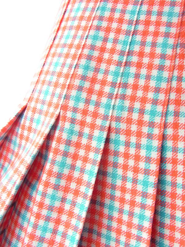ヨーロッパ古着 フランス買い付け 60年代製 レッド X 水色 チェック柄 ウール プリーツ スカート 18FC005