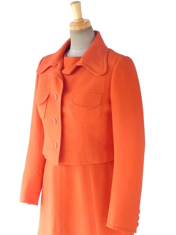 フランス買い付け 60年代製 オレンジ X ビッグステッチ ウール ジャケット・ワンピース セットアップ 18FC009