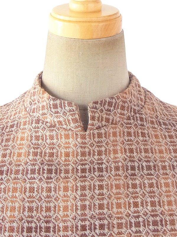 ヨーロッパ古着 フランス買い付け 60年代製 オレンジ・ブラウン X 幾何学プリント ゴールドボタン モックネック ワンピース 18FC100