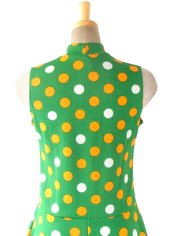ヨーロッパ古着 フランス買い付け 70年代製 グリーン X オレンジ・ホワイト 水玉 リボンタイ レトロ ワンピース 18FC103