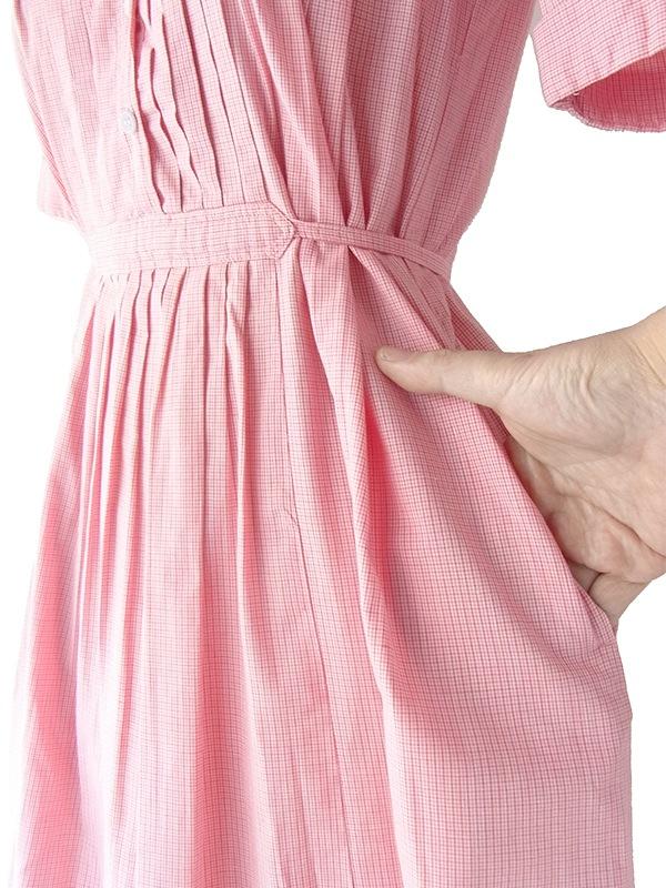 ヨーロッパ古着 フランス買い付け 60年代製 上品ピンク X ピンチェック 刺繍 プリーツ ワンピース 18FC107