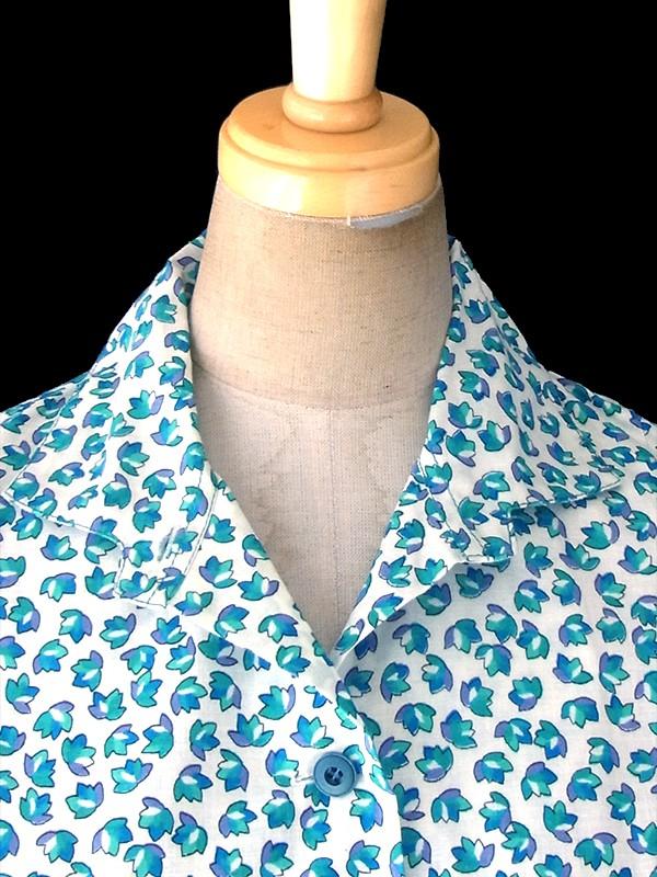 ヨーロッパ古着 フランス買い付け 60年代製 ホワイト X ブルー 小花柄 ポケット付き シャツ ワンピース 18FC200