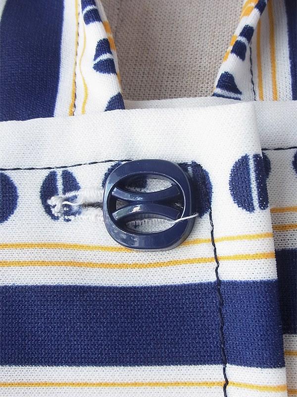 ヨーロッパ古着 70年代フランス製 オフホワイト X ブルー・イエロー レトロ柄 共布ベルト付き ヴィンテージ ワンピース 18FC203
