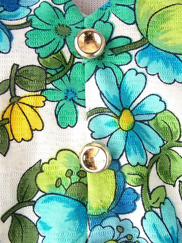 ヨーロッパ古着 フランス買い付け 60年代製 ホワイト X 涼やかな花柄 円形が控えめに浮かぶ生地 ワンピース 18FC261