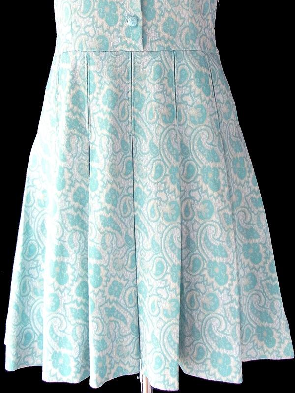 ヨーロッパ古着 フランス買い付け 60年代製 水色 X クリーム色 ペイズリー柄 可愛いボタン プリーツ ワンピース 18FC224
