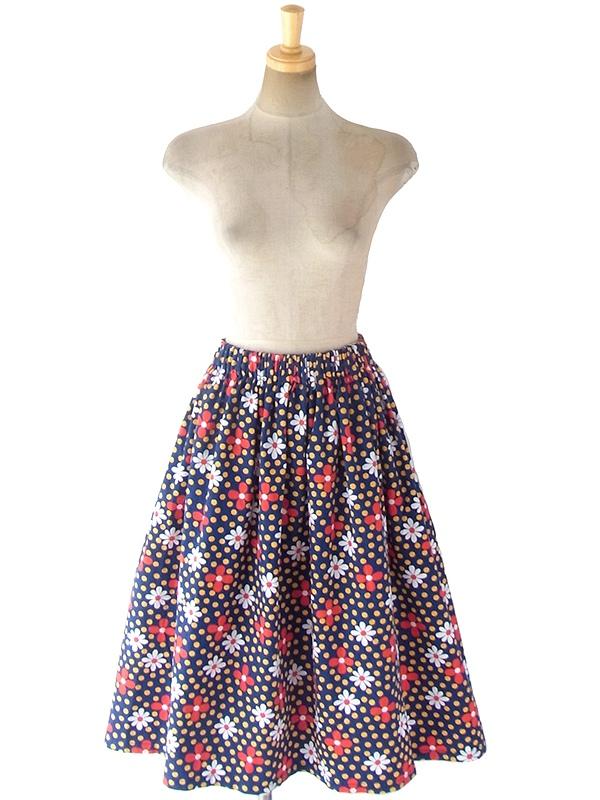 ヨーロッパ古着 フランス買い付け 60年代製 ブルー X イエロー 水玉 ・ カラフル花柄 ヴィンテージ スカート 18FC221