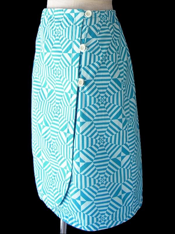 ヨーロッパ古着 フランス買い付け 60年代製 ミントブルー X ターコイズブルー オプアート柄 ラップスカート 18FC222
