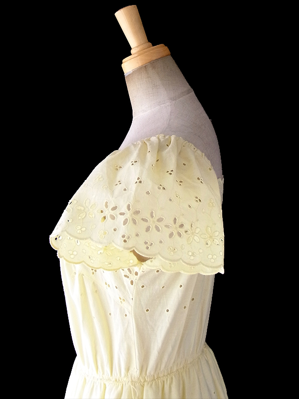 ヨーロッパ古着 フランス買い付け 60年代製 淡いイエロー X 花柄カットレース パフスリーブ ティーアド ワンピース 18FC301