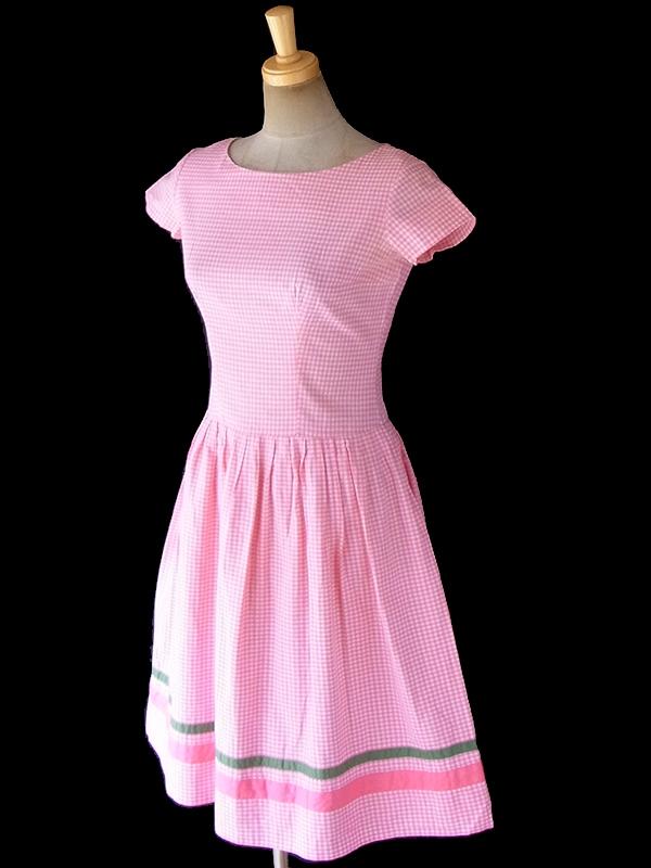 ヨーロッパ古着 フランス買い付け 60年代製 ピンク X  ギンガムチェック グリーン・ピンク テープ ワンピース 18FC304