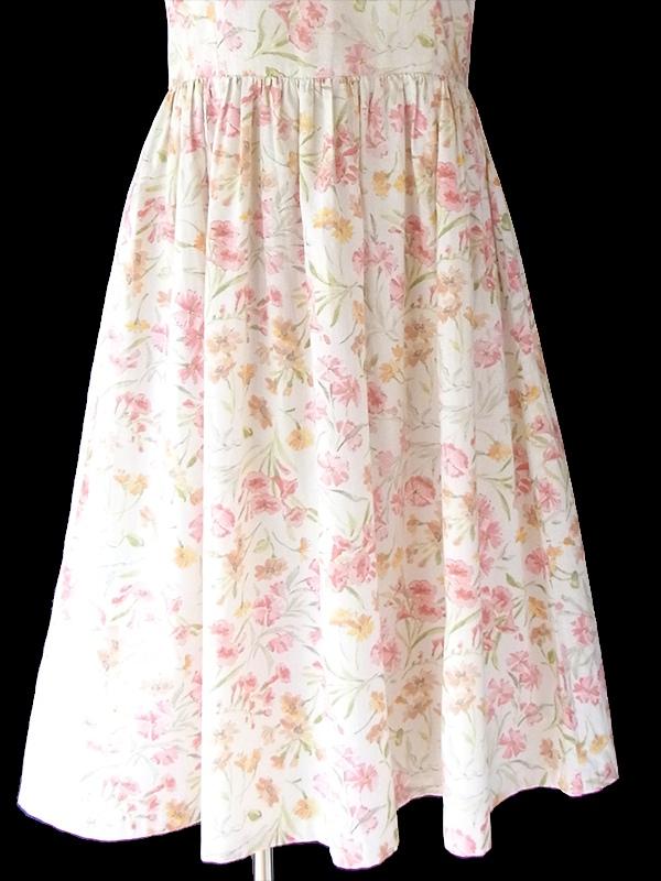 ヨーロッパ古着 フランス買い付け 60年代製 オフホワイト X パステルカラー 花柄 ふんわりシルエット ワンピース 18FC309
