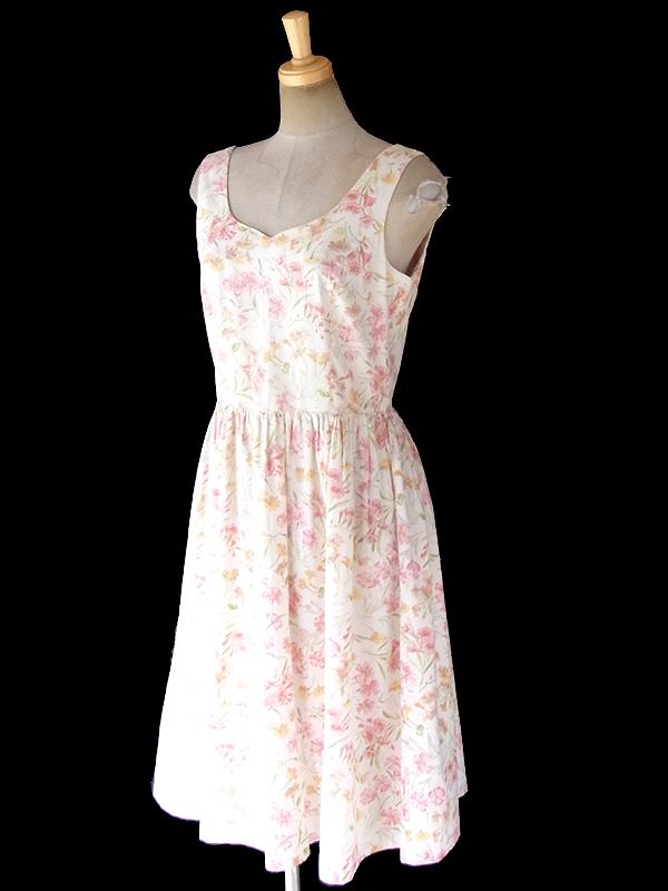 ヨーロッパ古着 フランス買い付け 60年代製 オフホワイト X パステルカラー 花柄 ふんわりシルエット ワンピース 18FC310