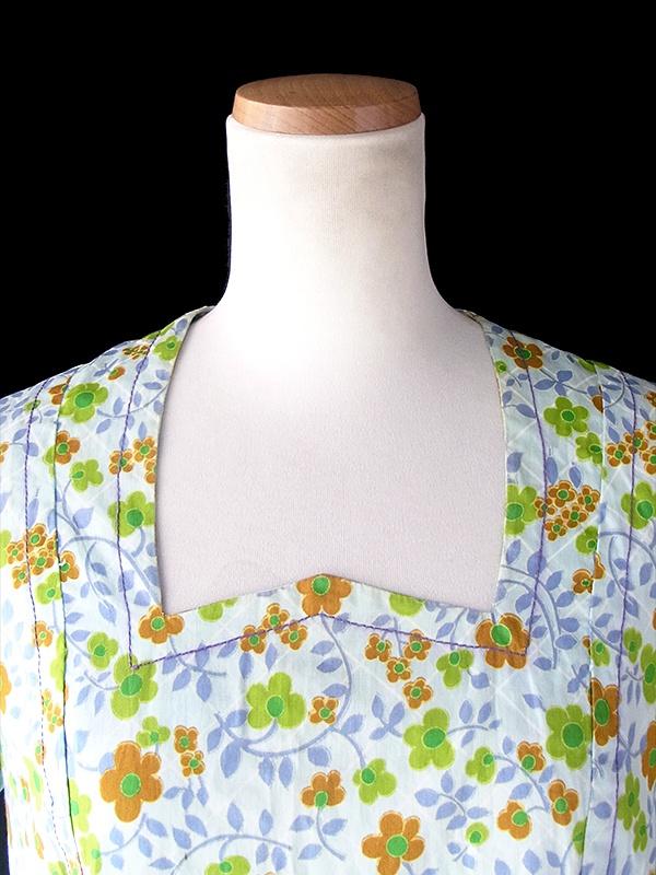 ヨーロッパ古着 フランス買い付け 60年代製 水色 X 花柄 パープルステッチ ポケット付き ワンピース 18FC309