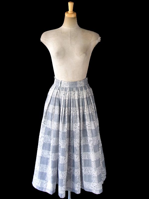 ヨーロッパ古着 60年代フランス製 アイボリー X ライトグレイ グラフィックパターン ギャザー スカート 18FC318