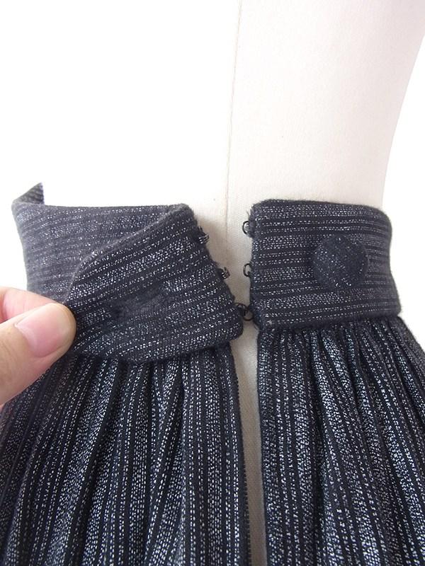 フランス買い付け 60年代製 ブラック X グラファイト ストライプ ヴィンテージ ギャザー スカート 18FC319