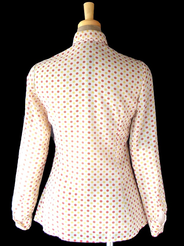 ヨーロッパ古着 フランス買い付け 70年代製 ホワイト X レッド・イエロー 水玉 美麗シルエット ブラウス 18FC320