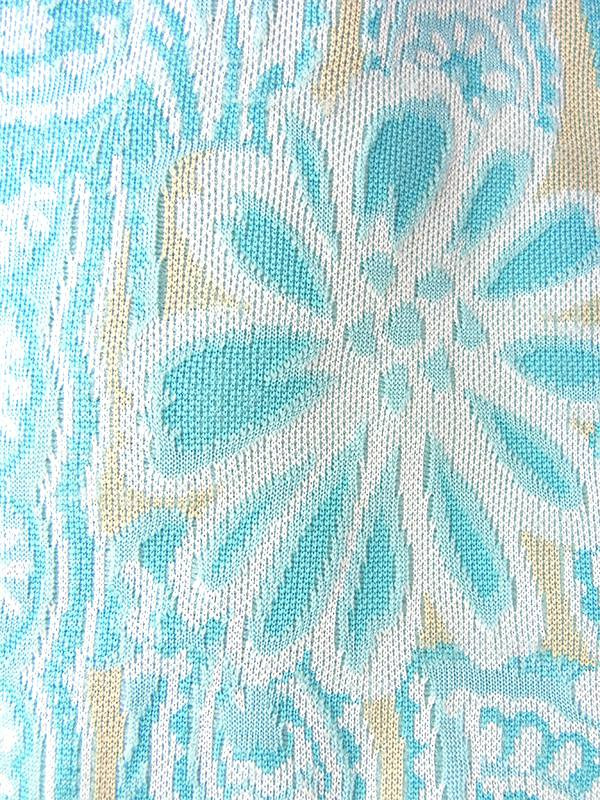 フランス買い付け 60年代製 水色 X クリーム色 花柄モチーフのレトロ柄が織られた生地 ワンピース 18FC413