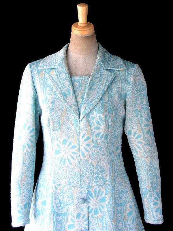 フランス買い付け 60年代製 水色 X クリーム色 花柄モチーフのレトロ柄が織られた生地 ワンピース 18FC414