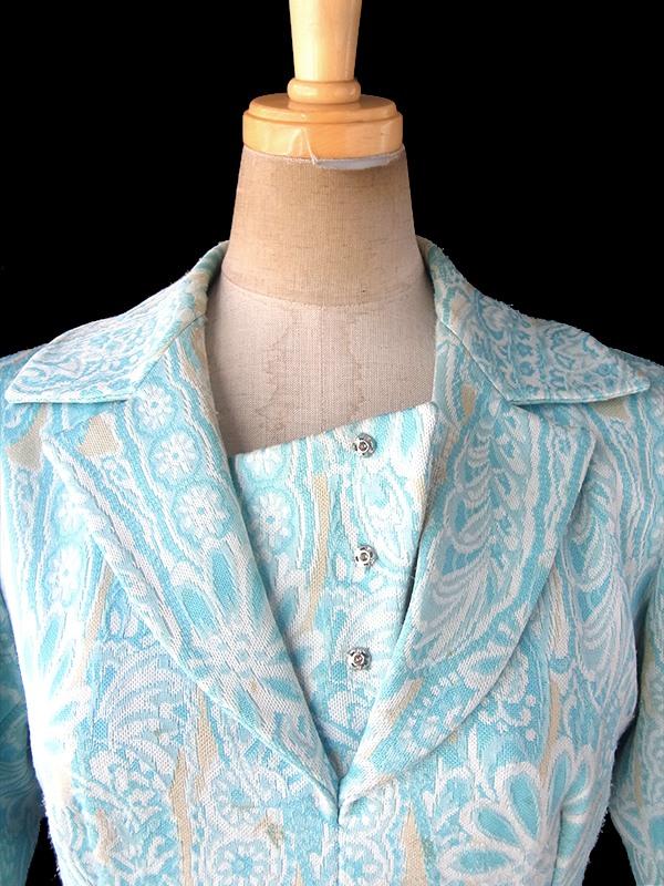 フランス買い付け 60年代製 水色 X クリーム色 花柄モチーフのレトロ柄が織られた生地 ワンピース 18FC415