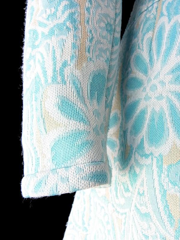 フランス買い付け 60年代製 水色 X クリーム色 花柄モチーフのレトロ柄が織られた生地 ワンピース 18FC416